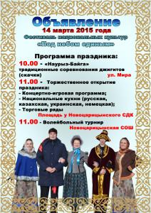 Новоцарицыно - ПРОГРАММА